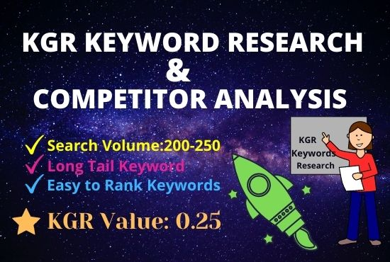 I will do KGR keyword research that will rank fast.