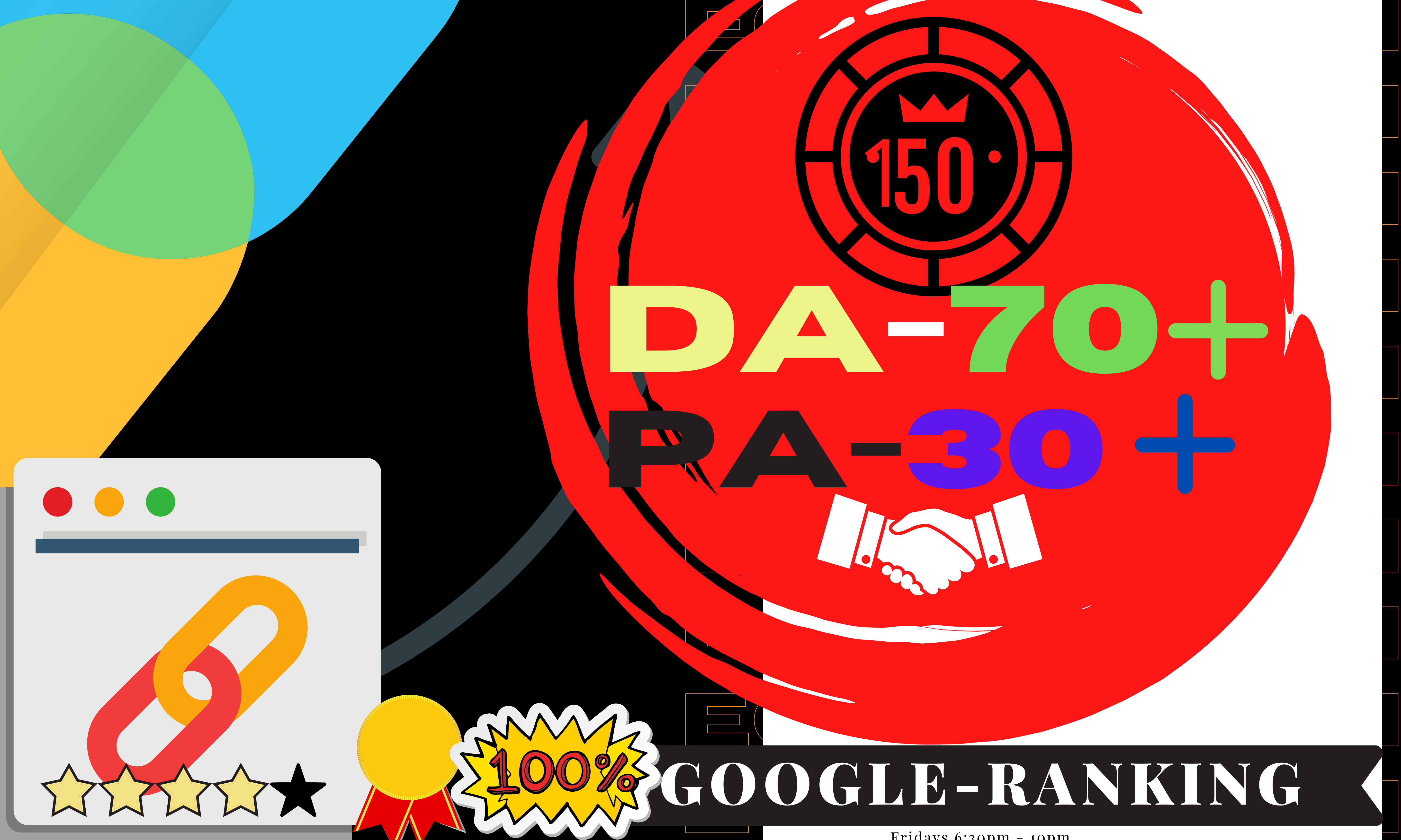 I Will Create 150 High-Quality Out-Reach Backlinks,  Domain Authority DA70+ & Page Authority PA30+