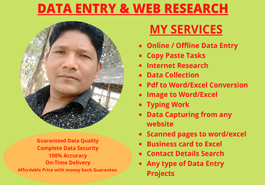I Will Do Data Entry & Web Research Expert