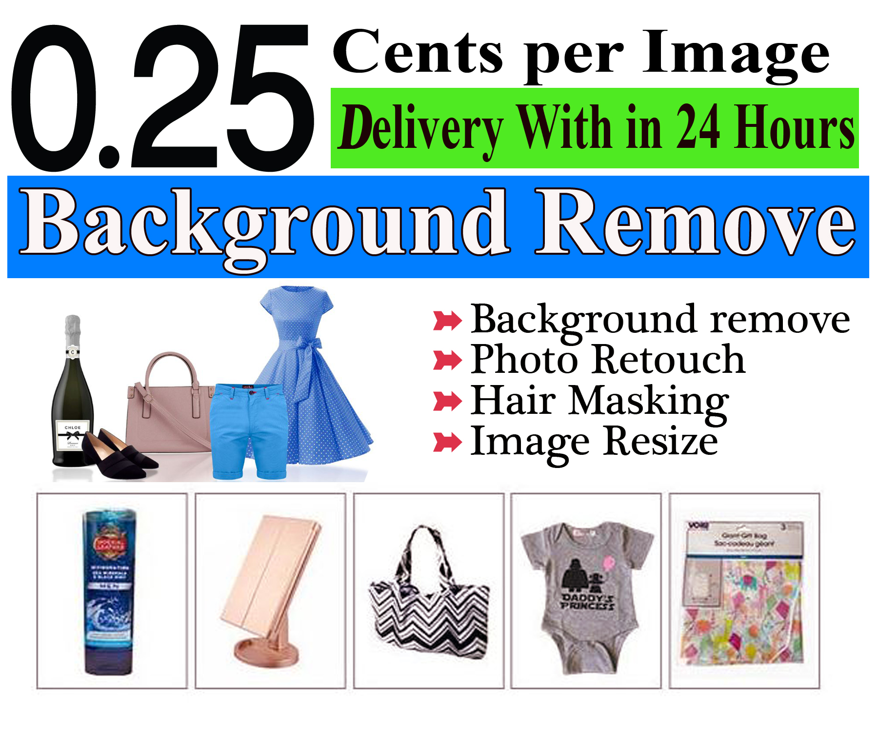 I will do super fast photo background removal, Editing & Retouching.