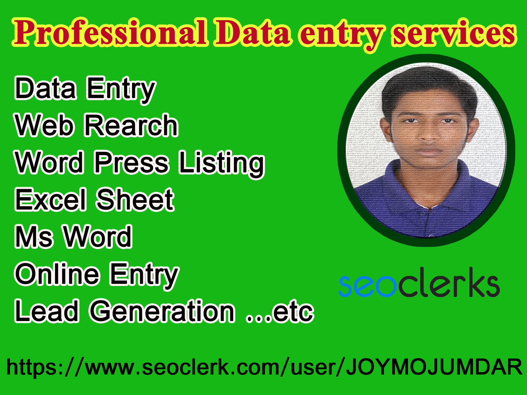 I will virtual assistant for data entry and web search,  excel