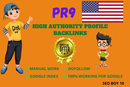 I will make 60 high authoriy pr9 white hat seo profile backlinks