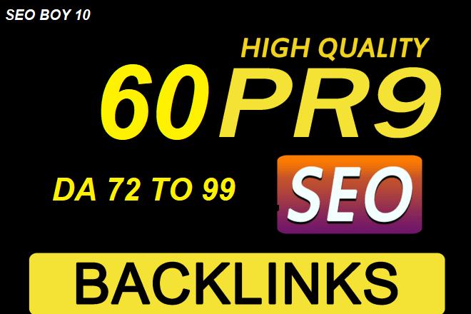 I will make 60 high authoriy DA pr9 white hat seo profile backlinks