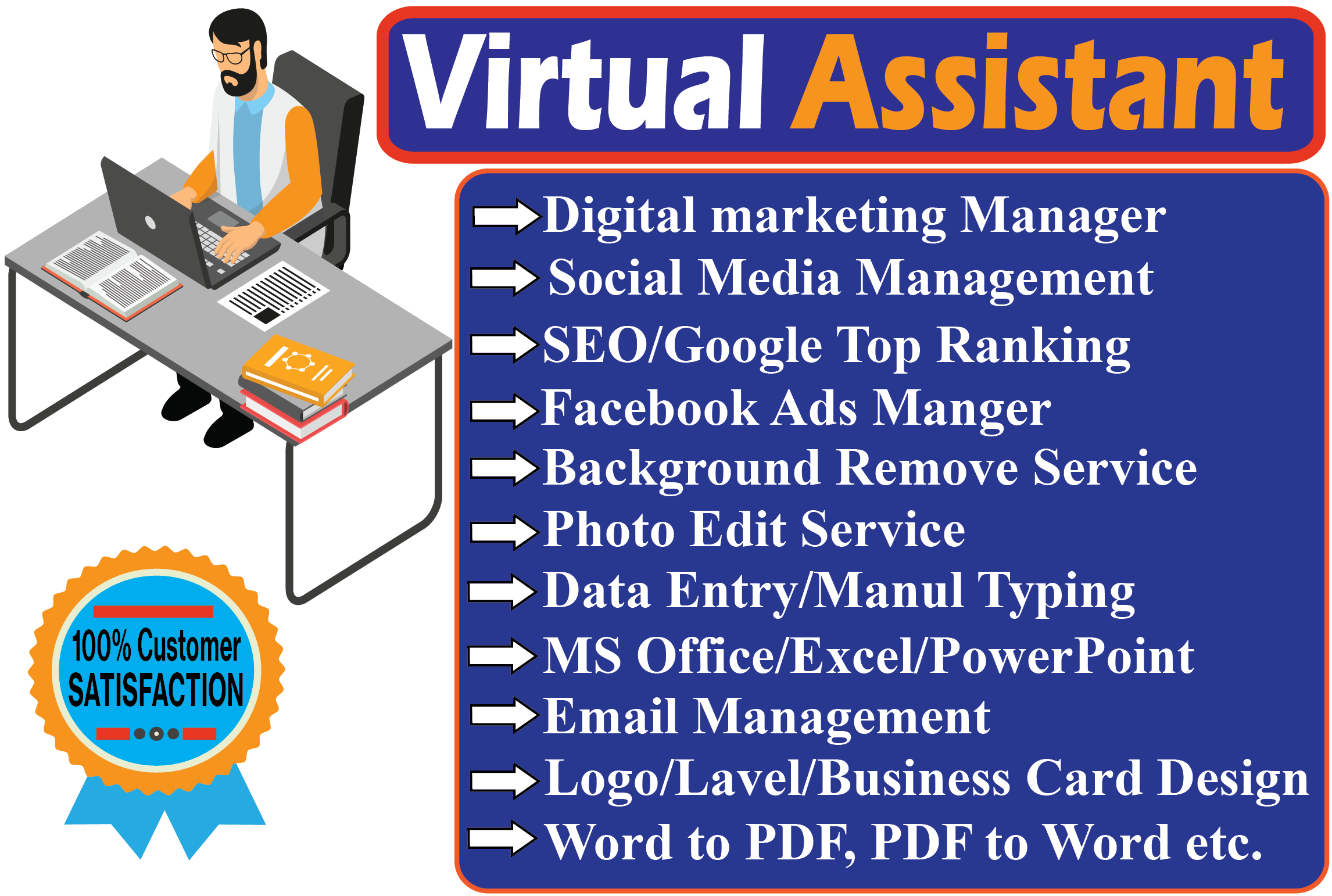 I will be your Personal Assistant / Virtual Assistant / Administrative Virtual Assistant