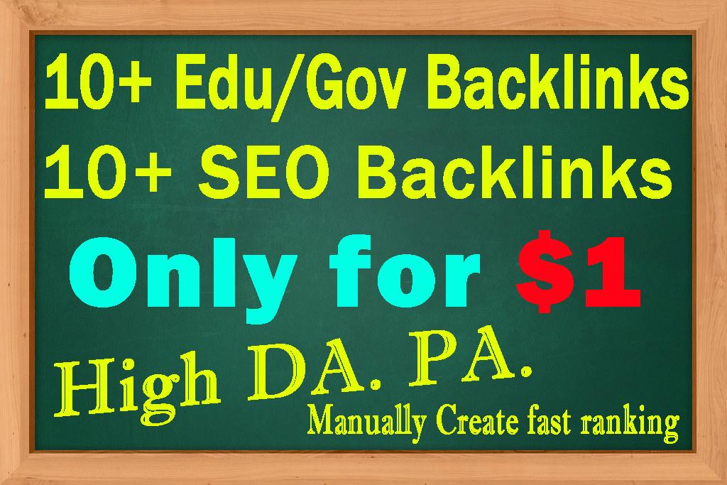 I will build DA50+ High Quality 10+ Edu/Gov Backlinks & 10+ SEO Backlinks Manually