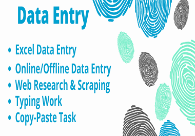 I will do Data Entry,  Data Mining,  Web Scraping,  Typing for 2 hours