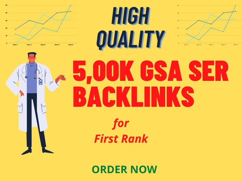 Create 500k GSA ser backlinks for increase link juice, faster index & faster rank