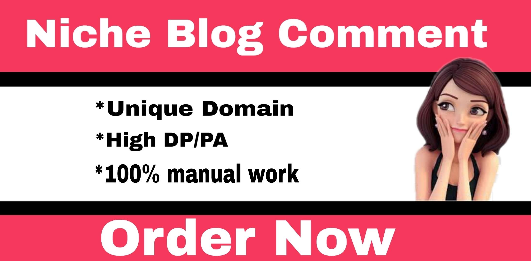 I will Do 60 High DA Niche Relevant Blog Comments Back links
