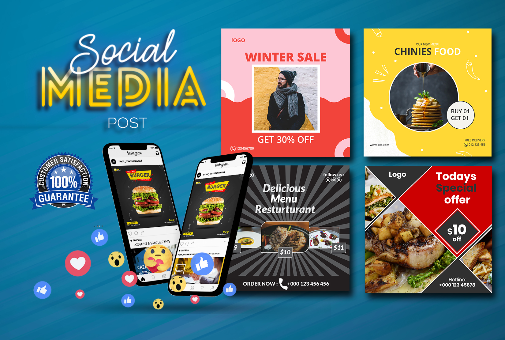 I will design attractive social media posts or stories for instagram,  facebook, twitter