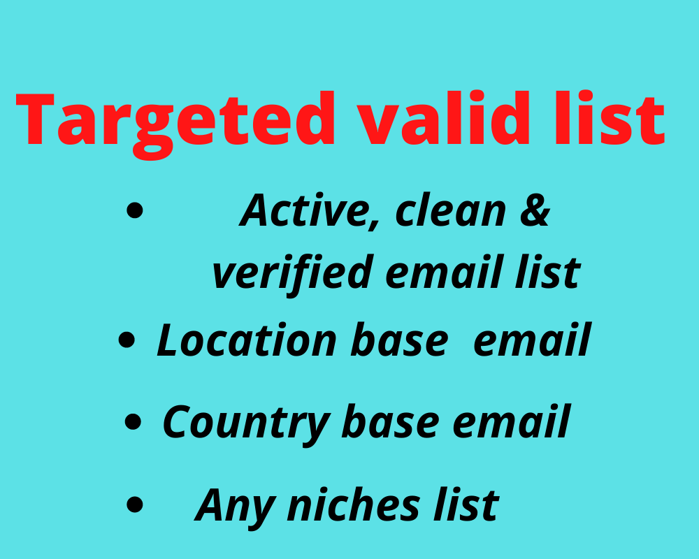 I will give bulk targeted niches active 1K USA Verified Email list for email marketing