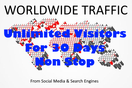 UNLIMITED REAL VISITORS FOR 30 DAYS FROM Google,  Bing,  Facebook,  Twitter,  Instagram and much more.