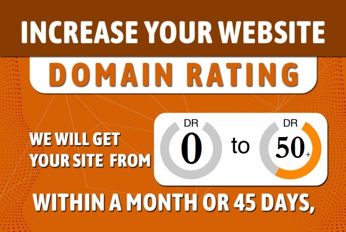I will increase your website DR domain rating 50 plus in 45 days Grunted