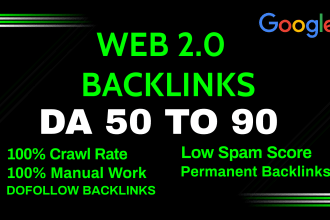 I will manually create 200 high da super web 2 0 backlinks