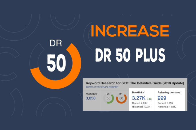 I will increase your website domain rating 50 plus in 30 days.