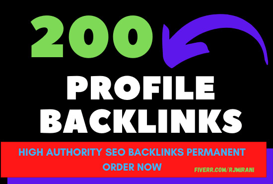 I will create 200 profile backlinks on high authority branded sites