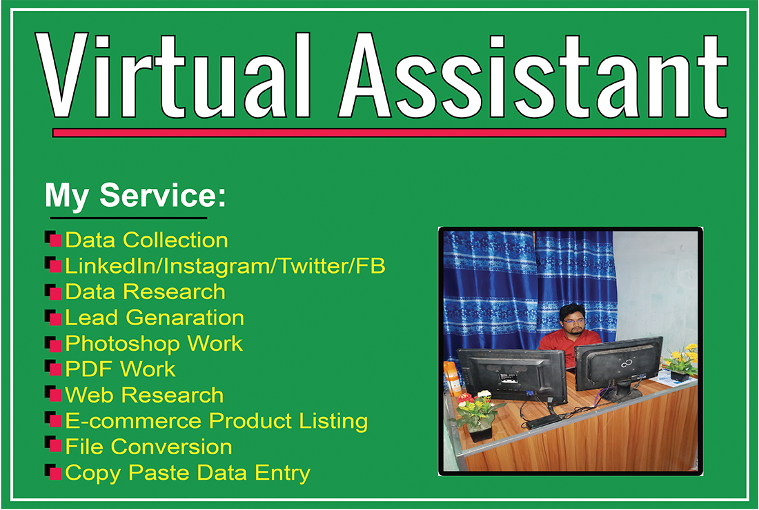 I will be your virtual assistant and do data entry,  web research