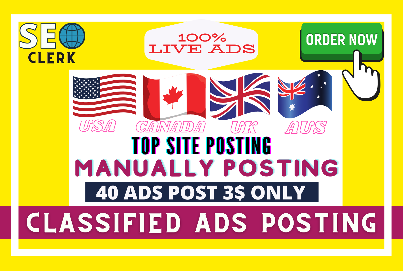 I Will post your ads in top ranking classified ads posting site