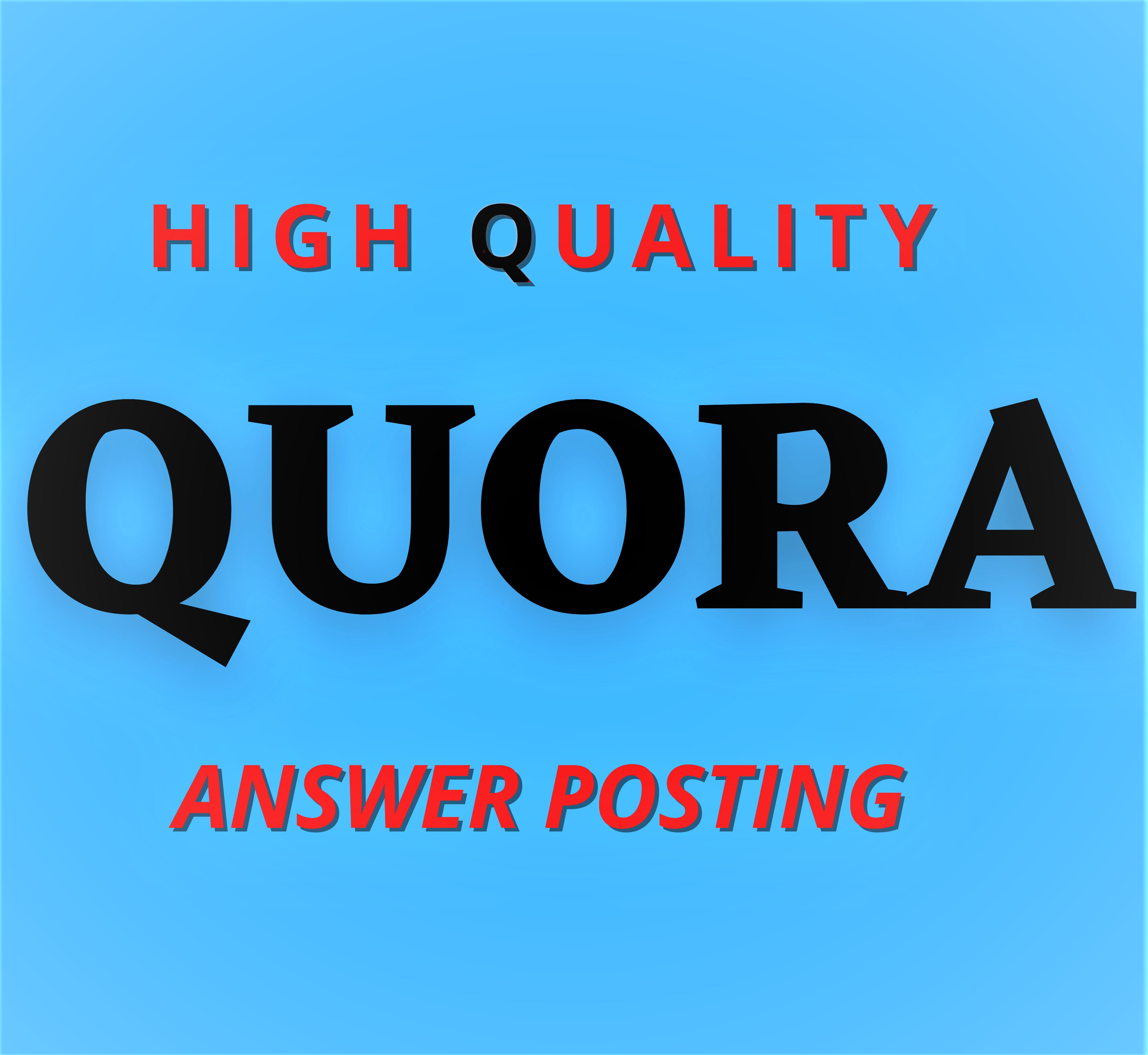 Promote Your Website with HQ 6 Quora answer with your targeted traffic