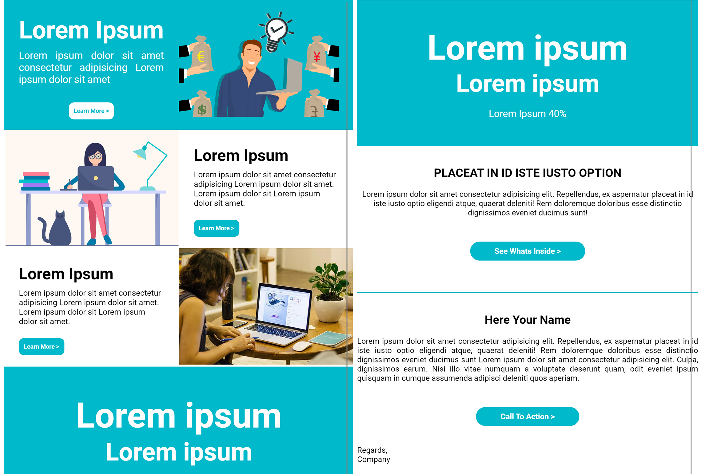 Responsive HTML email template or newsletter