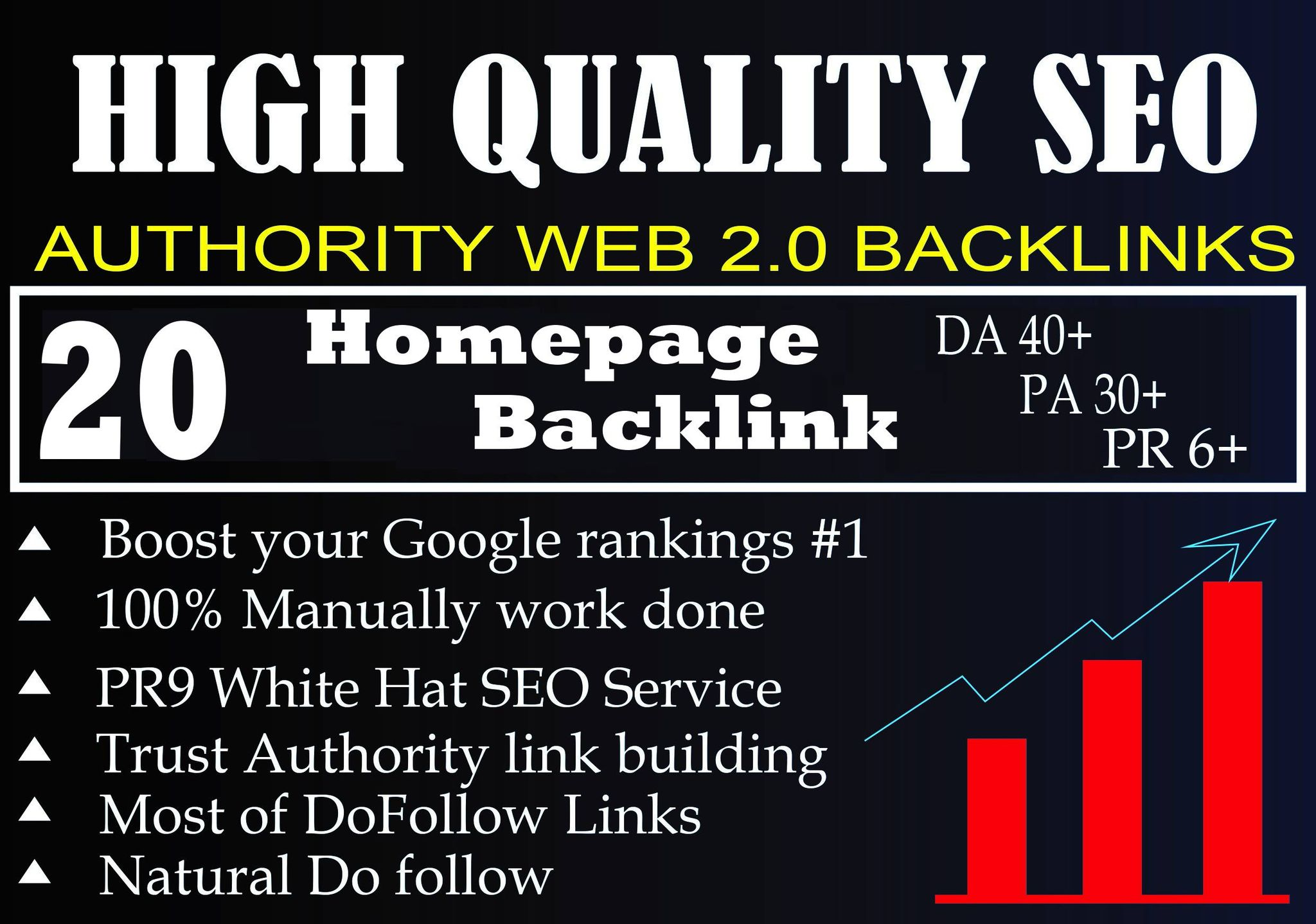 DA 40+ PA 30+ PR 6+ Web2.0 20 homepage Backlink in 100 dofollow in unique site