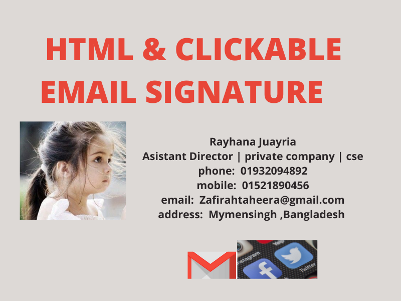 I will make clickable modern HTML email signature for you