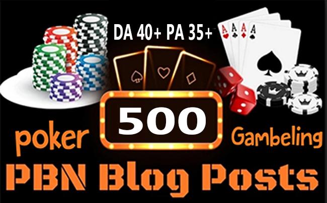 Poker/Casino/Gambling 500 web 2.0 PBN Dofollow Backlink Unique Sites DA 40+ PA 35+