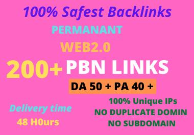 DA 50+ PA 40+ PR6-10 Web2.0 200 Pbn Backlink in 100 dofollow in unique site
