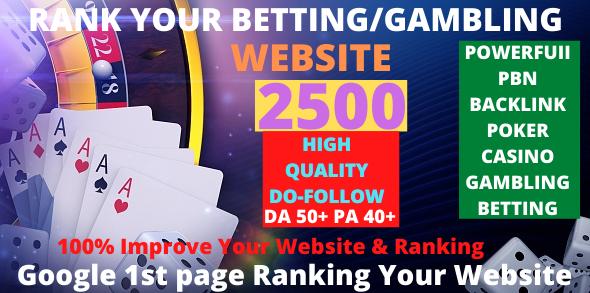 2500+ Casino/Gambling/Poker/Betting/ High Quality Do-Follow Pbn Backlink