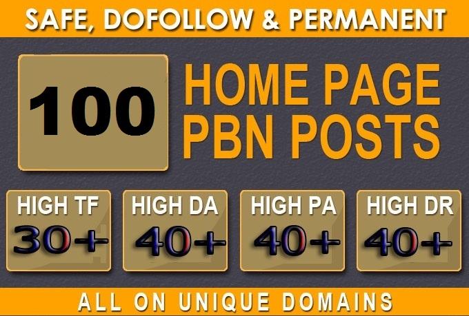 TF 30+ DA 40+ PA 40+ DR 40+ Web2.0 100 homepage Backlink in 100 dofollow in unique site