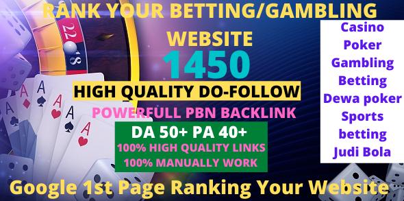 1450+ Casino/Gambling/Poker/Betting/ High Quality Do-Follow Pbn Backlink