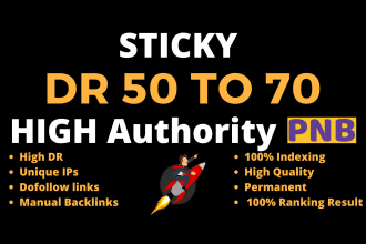 I'll build 50 posts high DR 50to70 dofollow sticky PBN backlinks for increasing your daily visitors.