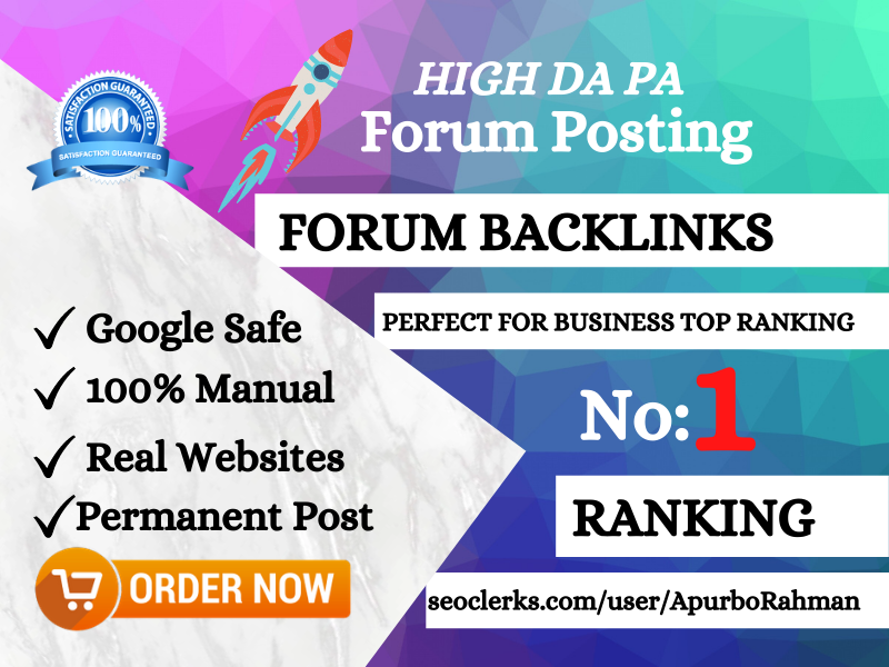I will provide 20 high quality forum posting backlinks