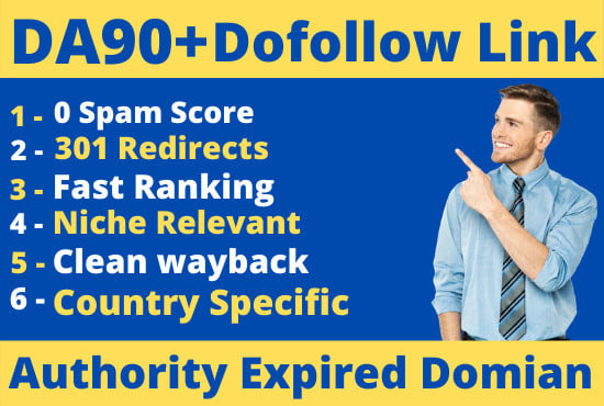 I will find expired domain with dofollow link from da 90 site
