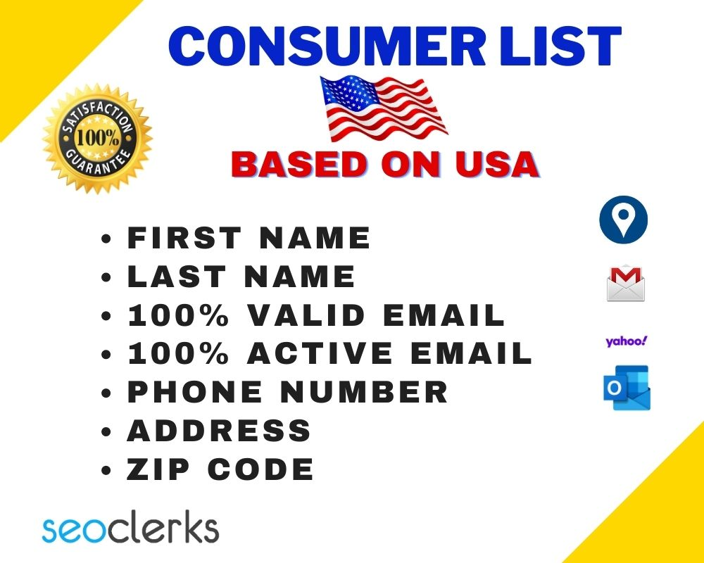 I will Provide you valid and active USA Consumer List