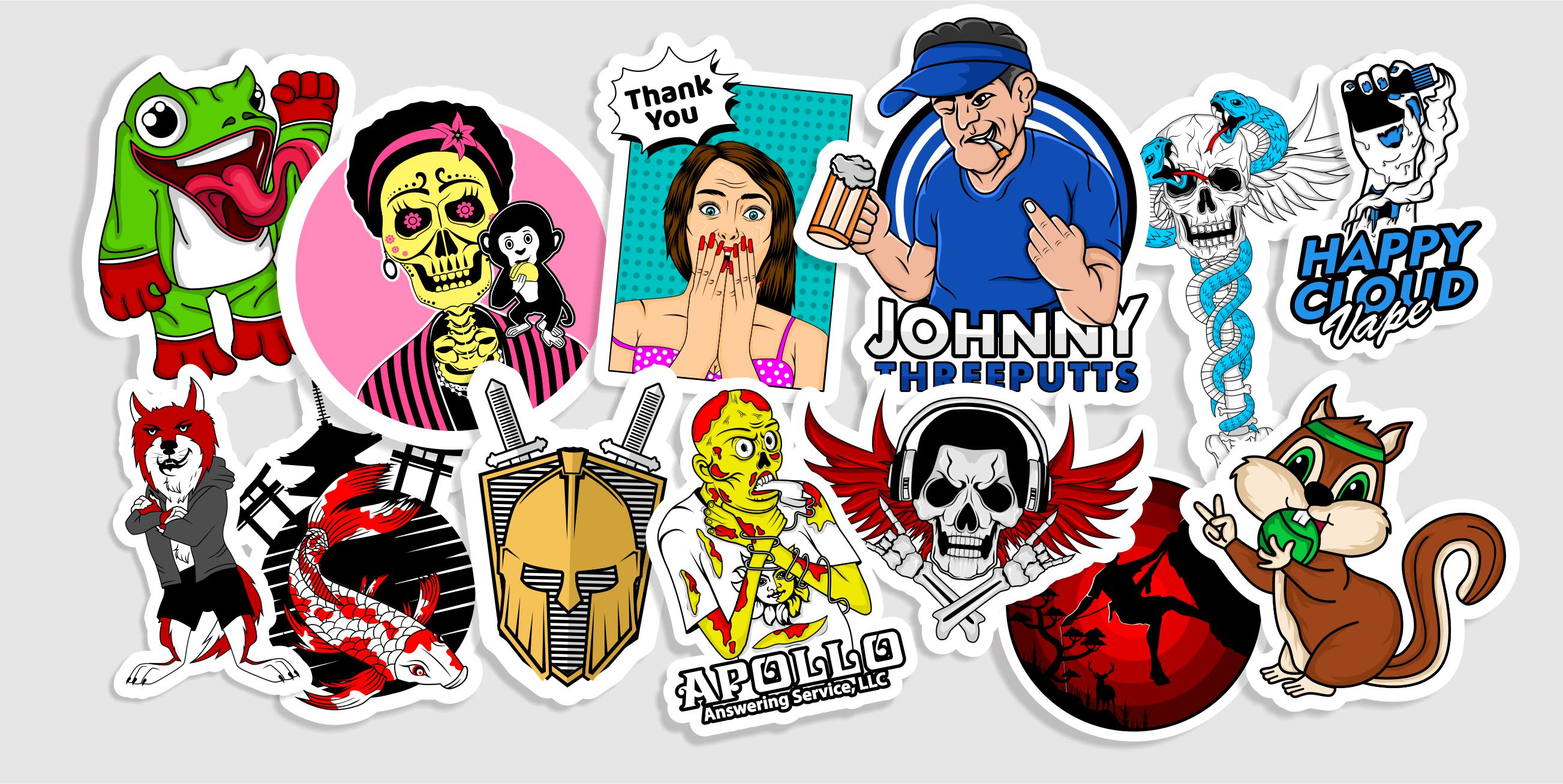 I will make a design sticker,  logo and illustration within 4 hours