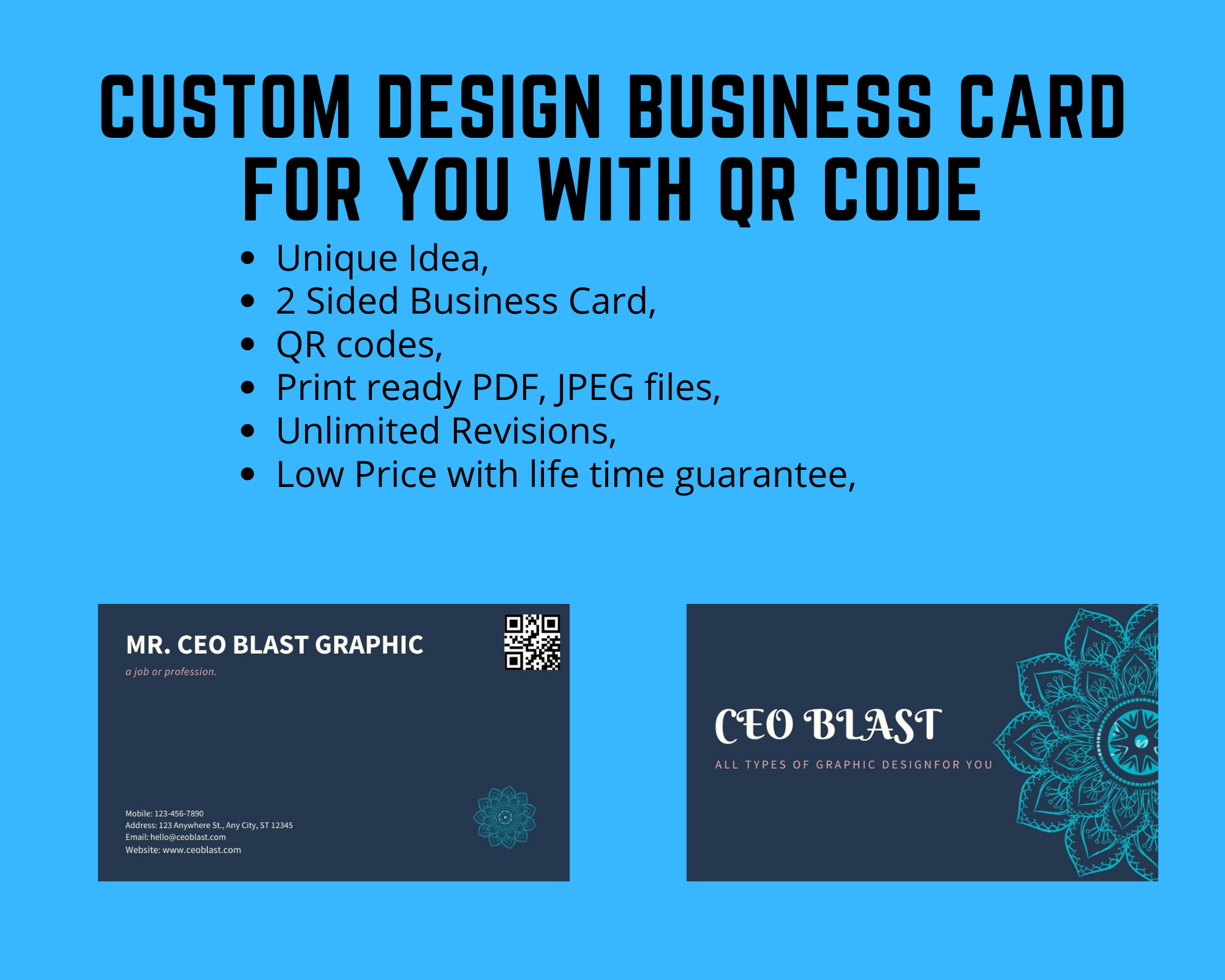 Custom Design QR Code included Business Card for your Business,  Brand or ect. within 24 Hrs