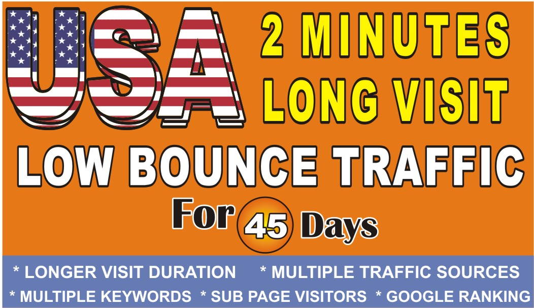 Do USA Web Traffic 2 Min Long Visit Low Bounce Rate