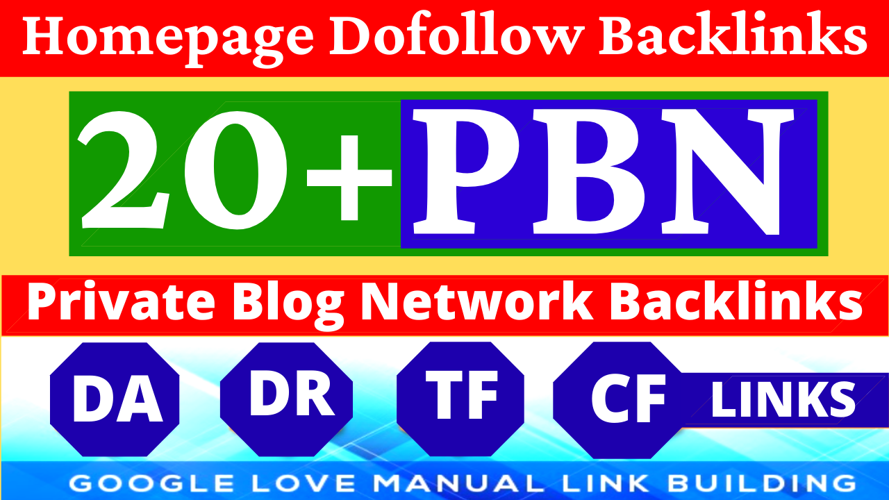 Permanent 20+ Homepage PBN Backlinks All Dofollow Quality Backlinks with unique websites