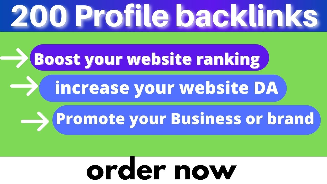 I will create 200 white hat SEO dofollow profile backlinks manually for your website ranking