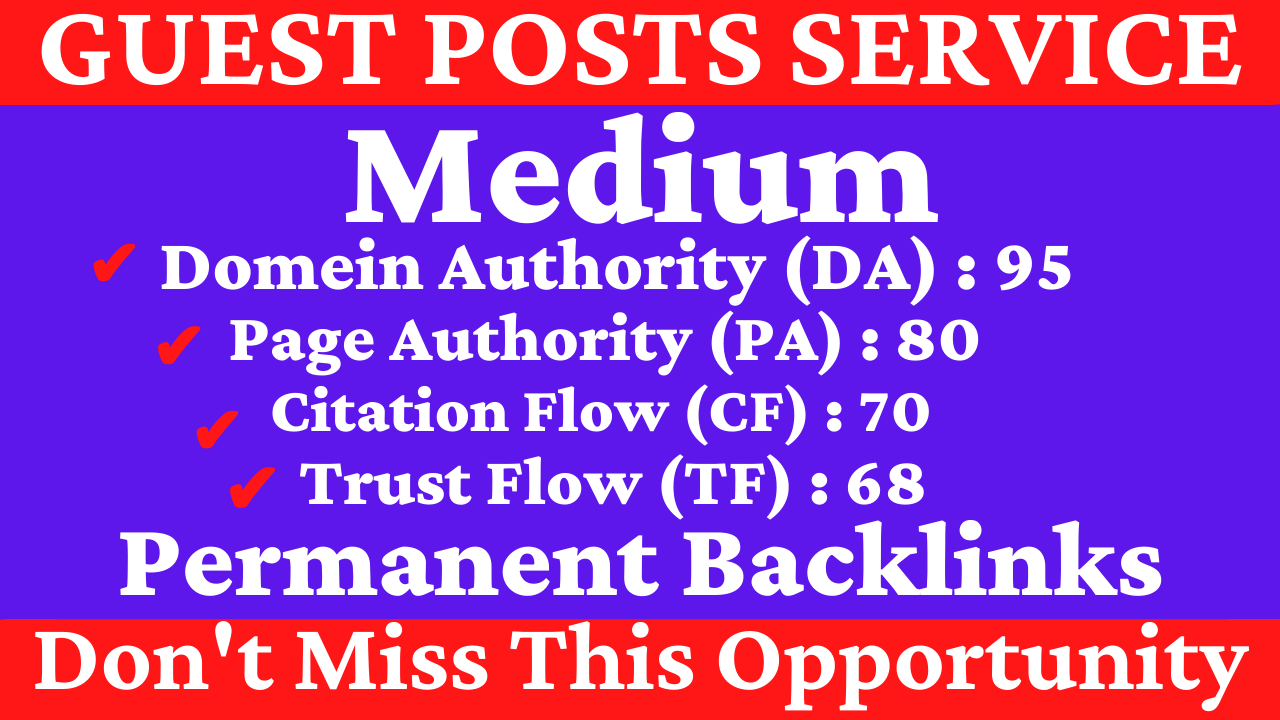 I Will Write And Publish A Guest Post On Medium DA 95 PA 80 With Permanent Backlinks & Google Index