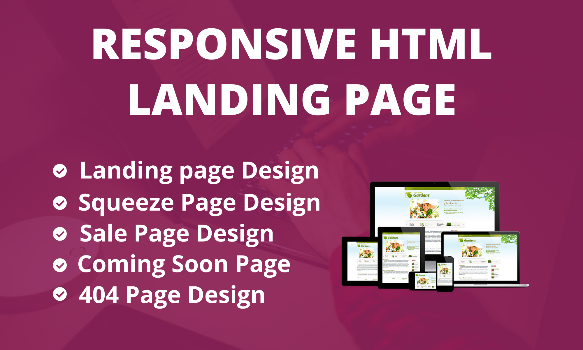 I will do responsive landing page design, html landing page design