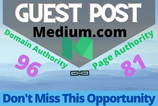 I Will publish guest posts Medium DA-95,  100 index guarantee