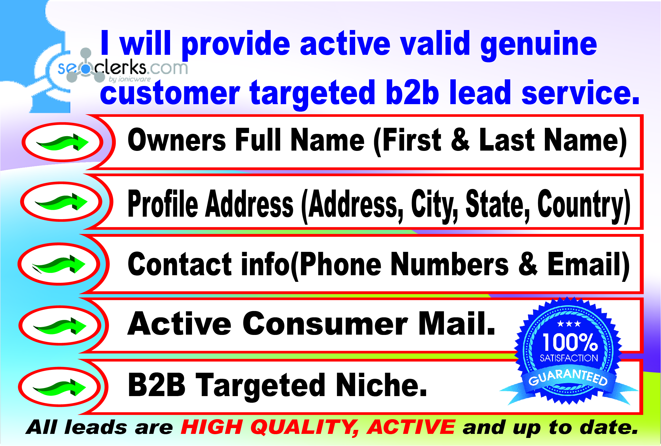 I will provide active insurance customer targeted b2b lead service