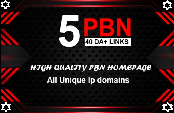 Build 5 Real 40+ DA PBN post Permanent Homepage Most Powerful Backlinks
