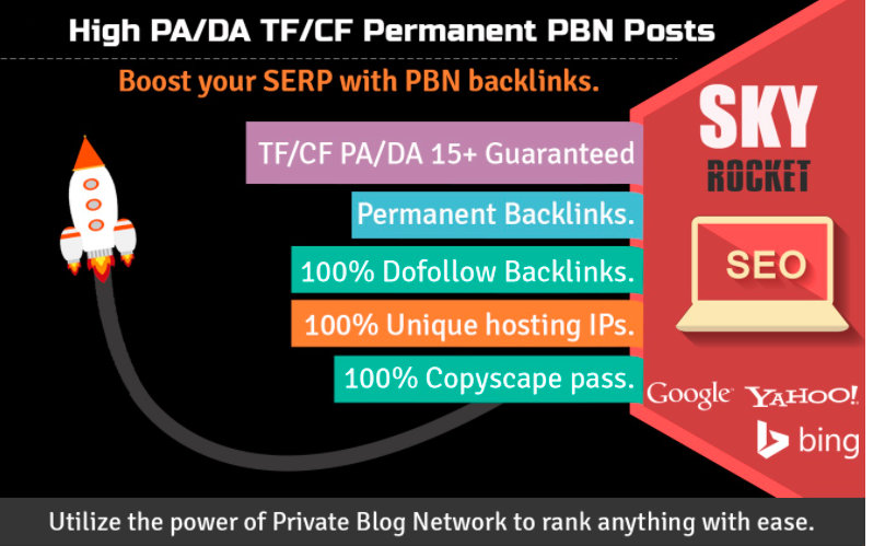 Create 15 High PA/DA TF/CF Poweful Permanent Homepage PBN Backlinks To Skyrocket you SERP