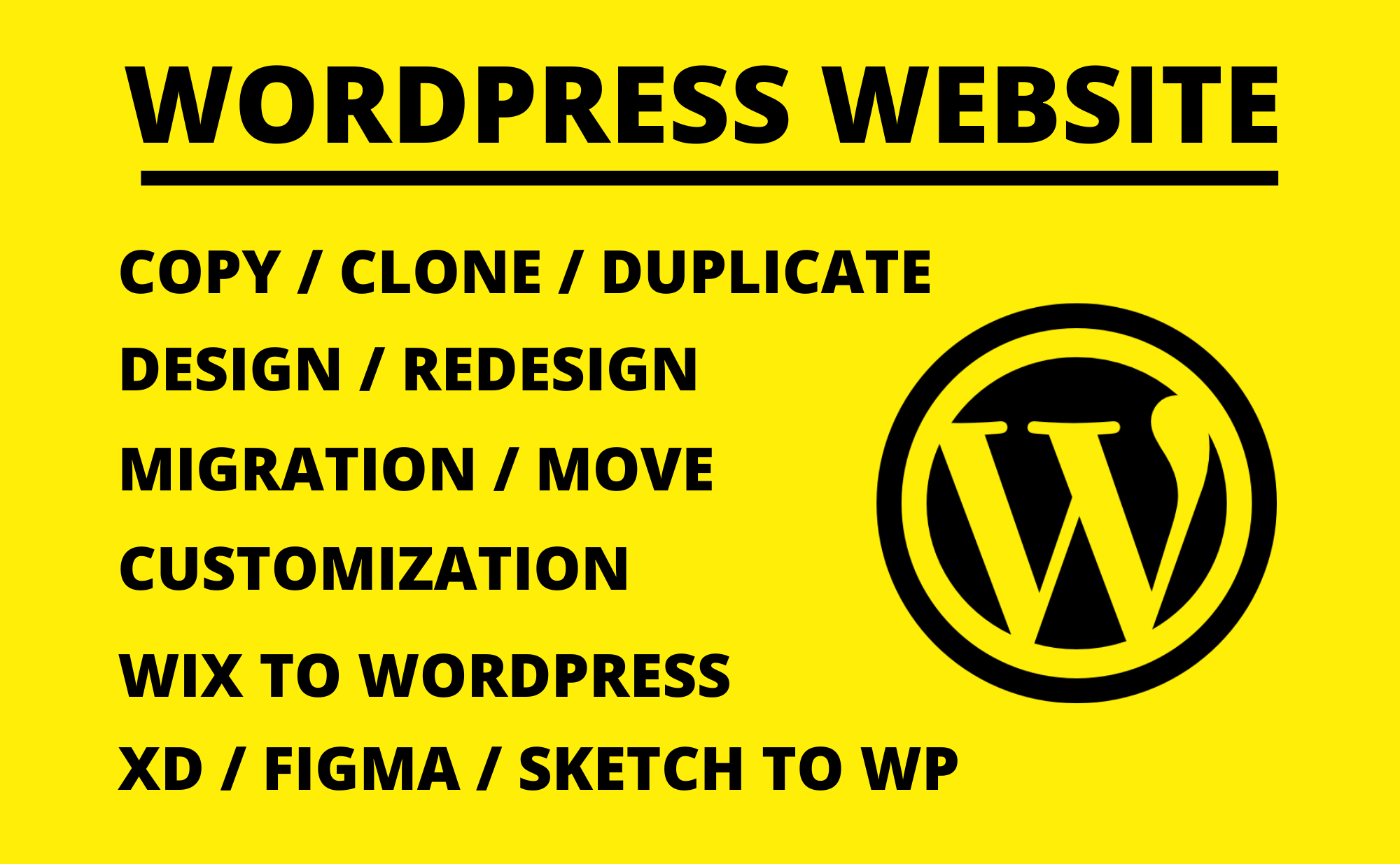 Design,  redesign,  copy / clone,  migration / move,  customize WordPress website,  Wix to WordPress