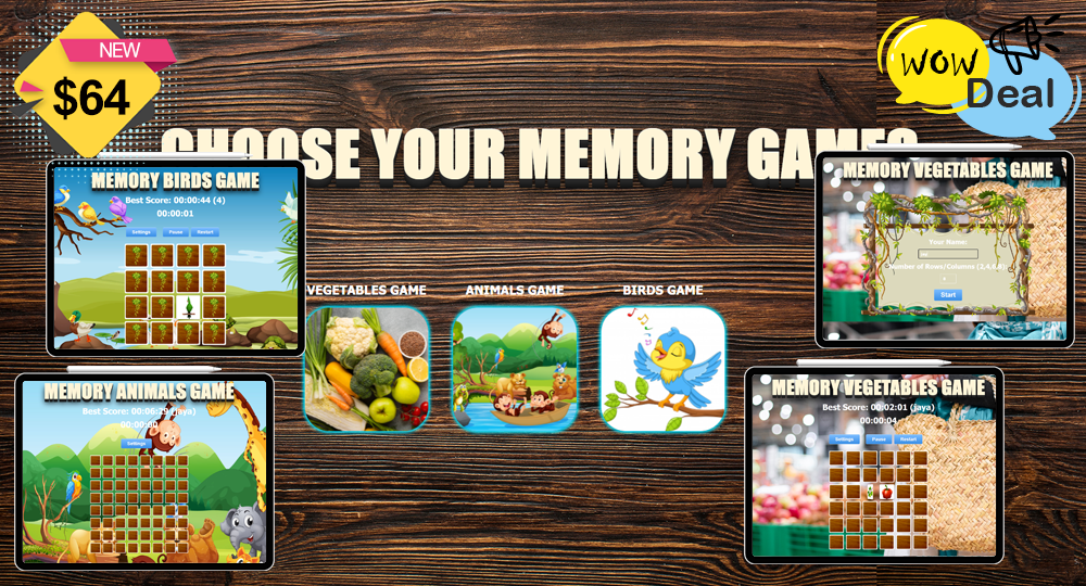 VEGETABLES GAME ANIMALS GAME BIRDS GAME Number of Rows/Columns 2, 4, 6, 8 Source Code Available