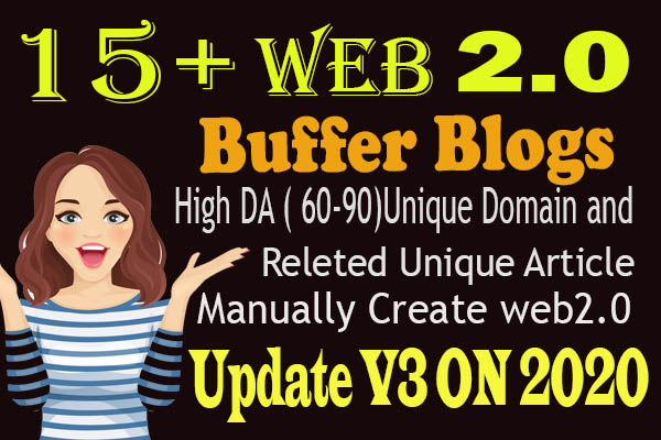 manually create 15 web 2.0 Best buffer blog SEO Backlinks