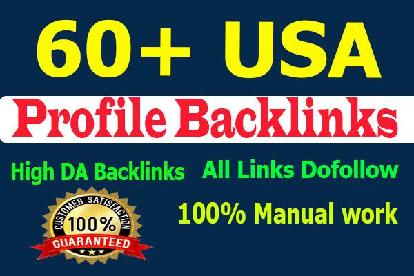 Manually create 60+ USA DA90 powerful High Dofollow Profile Backlinks