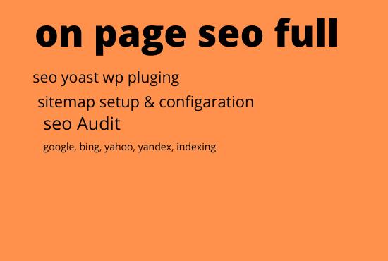 on page seo full service yoast,  google,  yahoo,  bing indexing